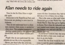 ALAMABA PAPER UNDER HEAT FOR KKK CALLING